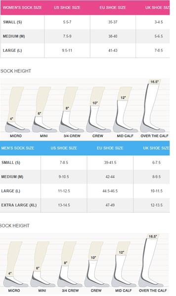 Tabela rozmiarów skarpetek Icebreaker