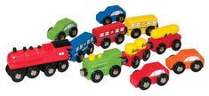 Woody zestaw drewnianych samochodów i pociągów