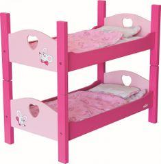 Woody Drewniane łóżko piętrowe dla lalek