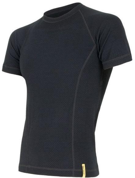 Sensor Double Face Merino Wool triko pánské krátký rukáv černá M