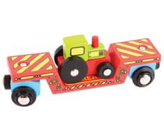 Bigjigs Rail wagon z traktorem + 2 tory