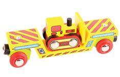 Bigjigs Rail Vagón s buldozérom + 2 koľaje