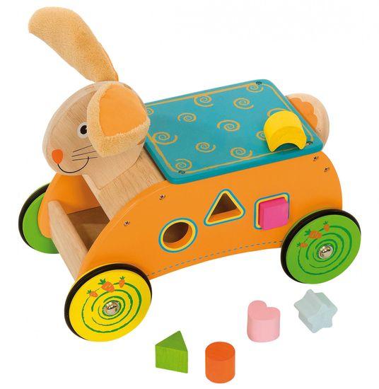 Bigjigs Toys Dřevěný motorický vozík Zajíc