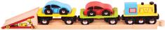 Bigjigs Rail Nákladní vlak s auty a kolejemi