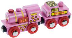 Bigjigs Rail Różowa lokomotywa z wagonem