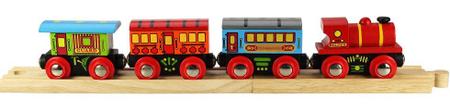 Bigjigs Rail Pociąg osobowy + 3 odc. torów