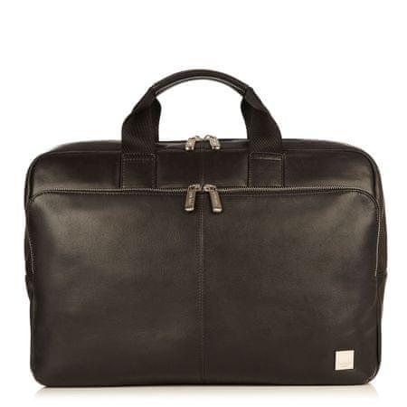 "knomo torba Newbury Full Leather Single Zip Brief 15"" ,črna"