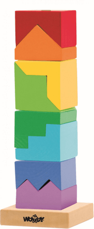 Woody zložljivi barvni stolp - puzzle