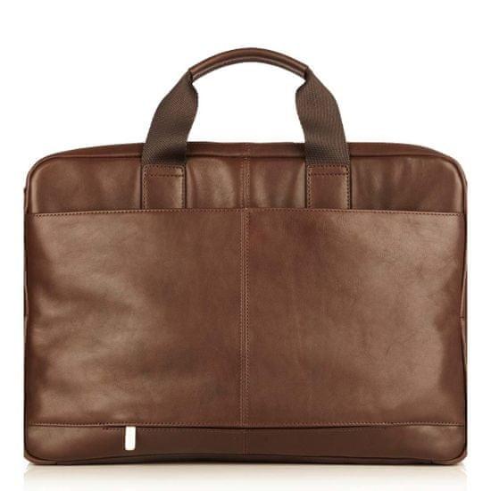 "knomo torba Newbury Full Leather Single Zip Brief 15"" , rjava"
