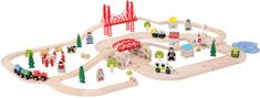 Bigjigs Rail Drevená vláčikodráha s vidieckou cestou - 80 dielov