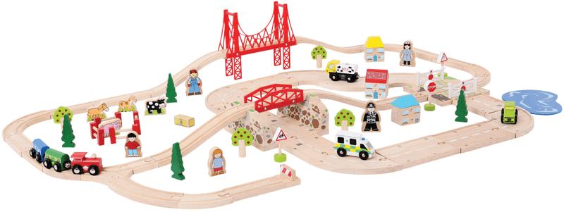 Bigjigs Rail Dřevěná vláčkodráha s venkovskou cestou - 80 dílů