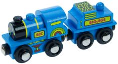 Bigjigs Rail Modrá mašinka s tendrom + 2 koľaje