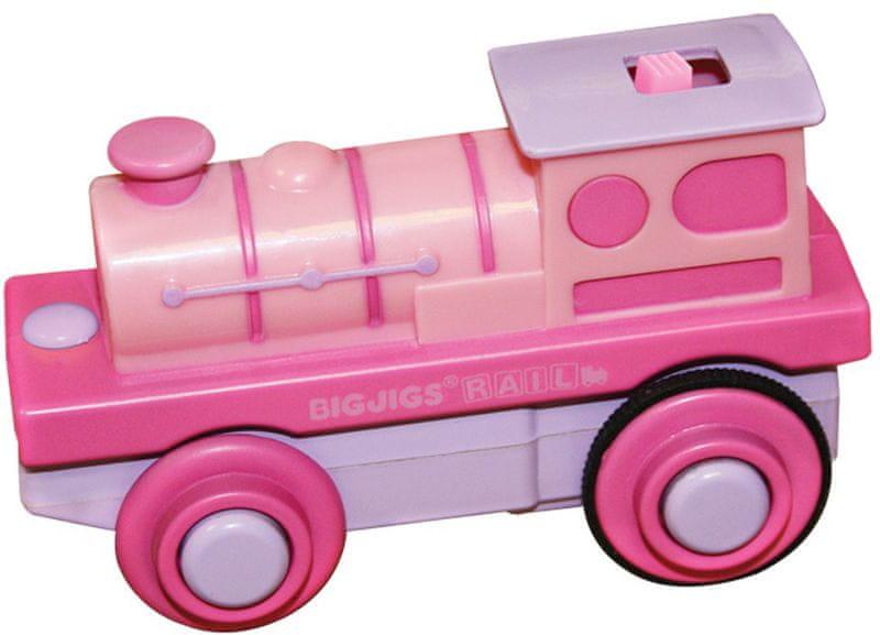Bigjigs Rail Elektrická lokomotiva růžová