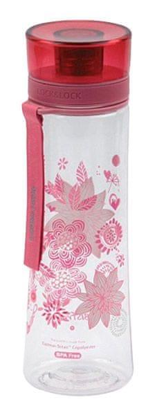 Lock&Lock Láhev 480ml, květy růžová
