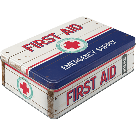 Postershop Retro dóza plochá First Aid (Emergency Supply) 23x16x7cm