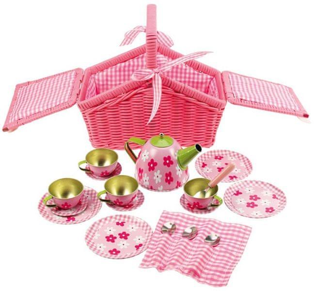 Bigjigs Toys Růžový kytičkový čajový set v košíku