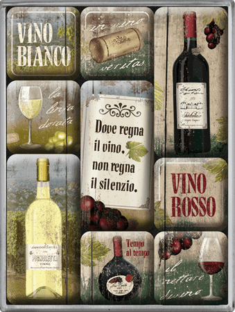 Postershop set magnetov Vino Rosso & Bianco, 9 kos