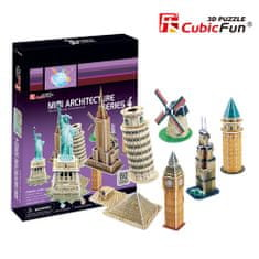 CubicFun Mini Architecture 4 3D Puzzle, 60 db