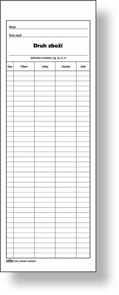 Skladní karta zásob 1/2 A4 na výšku, oboustranná