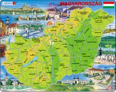 LARSEN Magyarország Térkép Maxi Puzzle 80 db-os