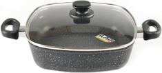 Top Alulit pekač s steklenim pokrovom Granit, črna