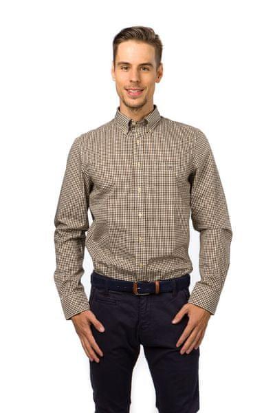 Gant pánská kostkovaná košile s kapsičkou XXXL hnědá