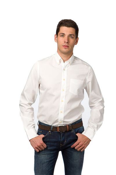 Gant pánská košile zúženého střihu XXXL bílá
