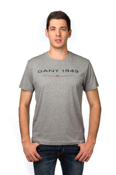 Gant pánské bavlněné tričko S šedá
