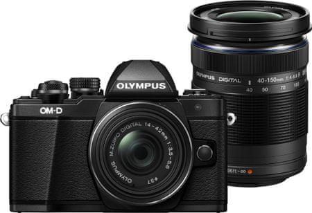 Olympus fotoaparat OM-D E-M10 Mark II + 14-42 mm EZ + 40-150 mm R, crni