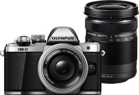 Olympus fotoaparat OM-D E-M10 Mark II + 14-42 mm EZ + 40-150 mm R, srebrni