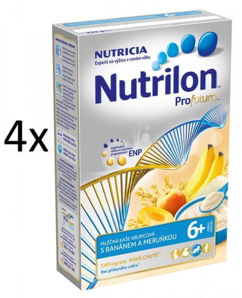 Nutrilon Mléčná kaše krupicová s banánem a meruňkou - 4 x 225g