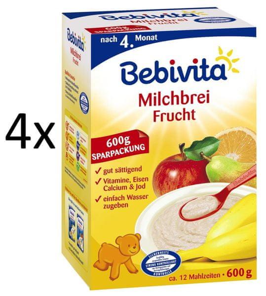 Bebivita Mléčná kaše ovocná - 4 x 600g