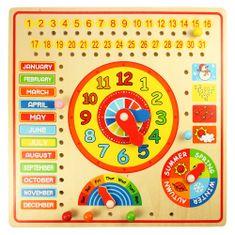 Bigjigs Toys Kalendár s hodinami s angličtinou