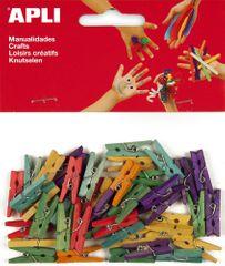 Kolíčky dřevěné APLI barevné malé/45 ks