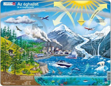 LARSEN Maxi puzzle 69 db-os Az éghajlat és az üvegházhatás (magyar nyelvű) NB1