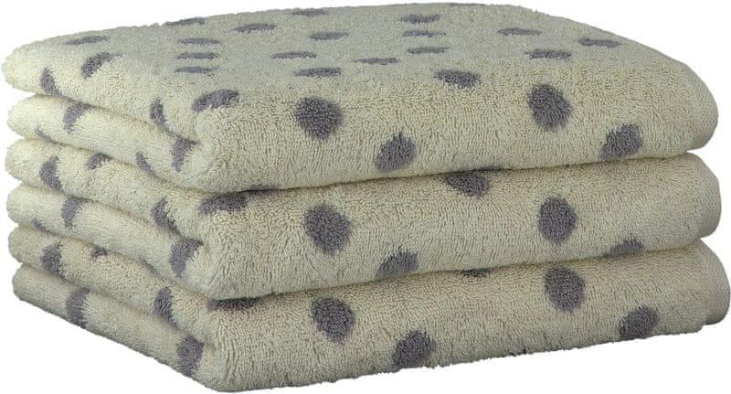 Cawö Frottier 3ks ručníky 50x100 cm, malé puntíky