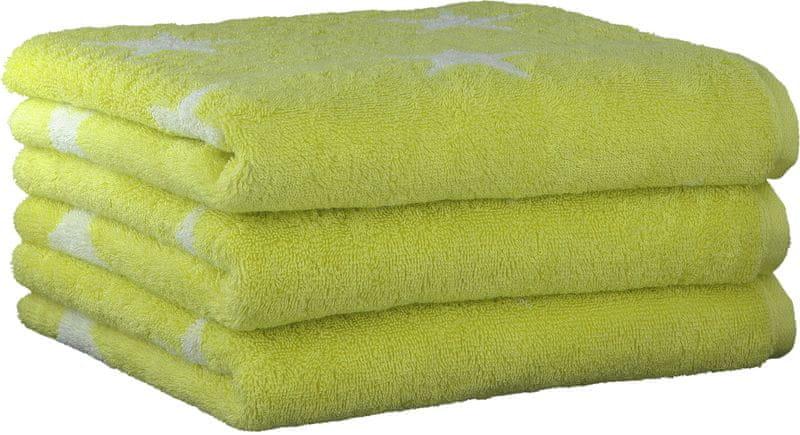 Cawö Frottier 3ks ručníky 50x100 cm, hvězdy zelená