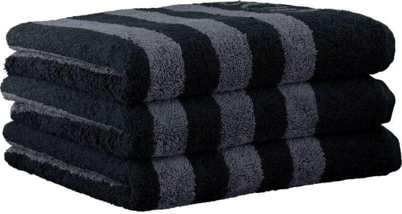 Joop! 3ks ručníky 50x100 cm, proužky černá
