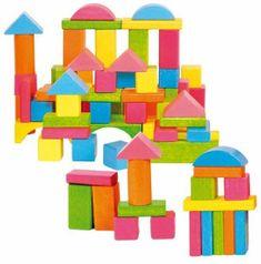 Woody Stavebnice kostky barevné - pastelové, 75 dílů