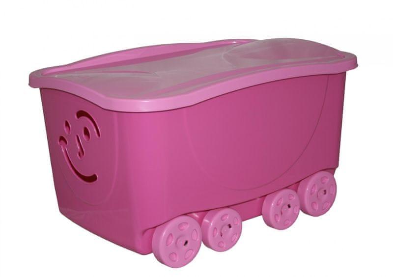 Mazzei Úložný box na kolečkách FANCY - 47,5 litru - růžový