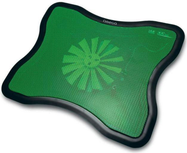 Omega Laptop Cooler PAD (Fresh), 16cm větrák, 2x USB port, zelený