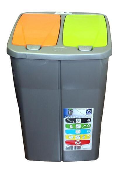 Mazzei Koš na tříděný odpad dvojitý 45l oranžová/zelená