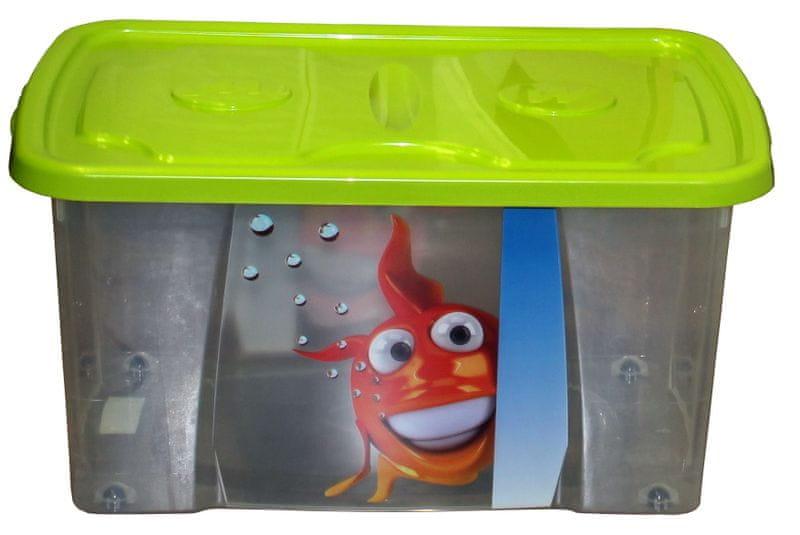 Mazzei Úložný box DEKOR - 44 litrů, dětský motiv zelená