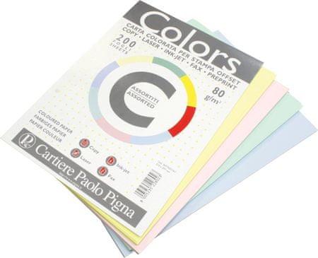 Pigna pisarniški papir A4, mix pastelnih barv, 200 listov