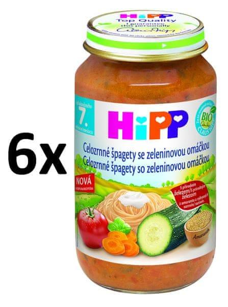 HiPP BIO Celozrnné špagety se zeleninovou omáčkou - 6x220g