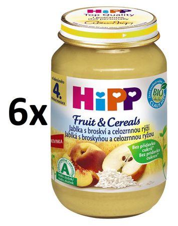 HiPP BIO Jablka s broskví a celozrnnou rýží - 6 x 190 g