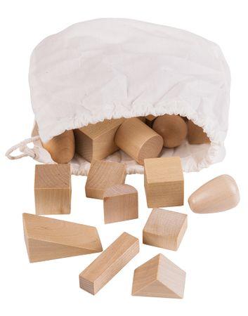 Montessori pomůcky Tajemný sáček s geometrickými tělesy