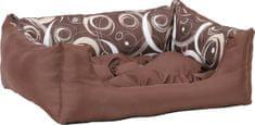 Argi prostokątne legowisko z poduszką, brązowe ze wzorem
