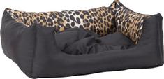 Argi prostokątne legowisko z poduszką, czarne ze wzorem
