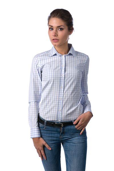 Gant dámská kostkovaná košile 32 světle modrá